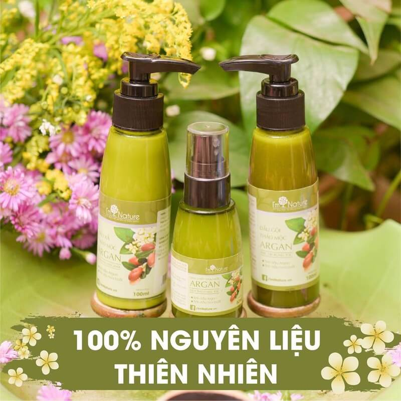 Bo San Pham Cham Soc Toc Argan Im Nature Set Nho 1