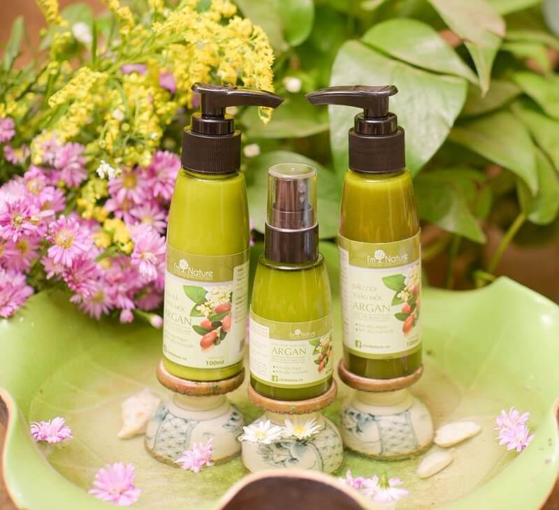 Bo San Pham Cham Soc Toc Argan Im Nature Set Nho 3
