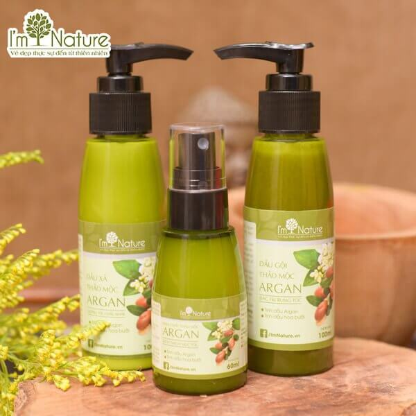 Bo San Pham Cham Soc Toc Argan Im Nature Set Nho
